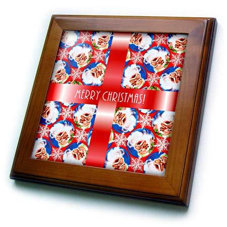 3dRose Russ Billington Christmas Designs - Image of Santa Wallpaper Background with White Text on Red Ribbon - 8x8 Framed Tile (ft_298881_1) - Santa Framed Tile
