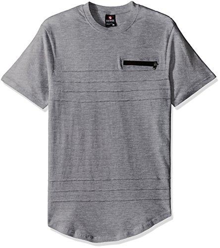 - Southpole Men's Crewneck Short Sleeve Fashion Tee, Heather Grey(scallop pintuck), XX-Large