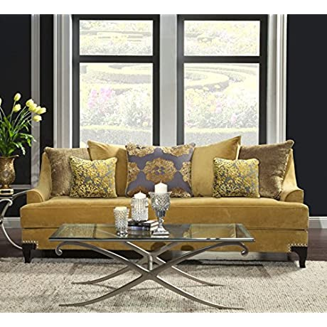 Furniture Of America Argenie Fabric Upholstered Sofa Gold