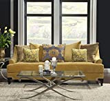 Cheap Furniture of America Argenie Fabric Upholstered Sofa, Gold