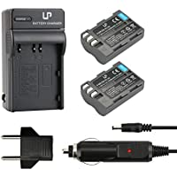 EN-EL3e Battery (2-Pack) and Charger for Nikon D50, D70, D70s, D80, D90, D100, D200, D300, D300s, D700 Cameras | Replaces Nikon EN-EL3e Battery and MH-18a Charger