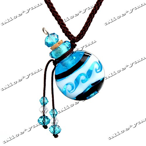 Murano Bottles Glass (Murano Glass Small Blue Round oil ashes urn bottle cork pendant vial Necklace)