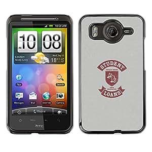 QCASE / HTC G10 / vida estudiantil cita divertida escalas dinero del préstamo / Delgado Negro Plástico caso cubierta Shell Armor Funda Case Cover
