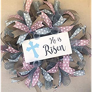 He is Risen Easter Wreath | Door Hanger | Door Wall Decor | FREE Shipping | Burlap Bowtique 81