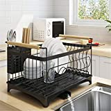 Cabina home Dish Drying Rack with Removable Drainer tray,Stainless Steel Supplies With a Drain,Chopsticks Dishes Cups Storage Shelf Utensils Holder for Home Kitchen Supplies,Black,For Single deck.