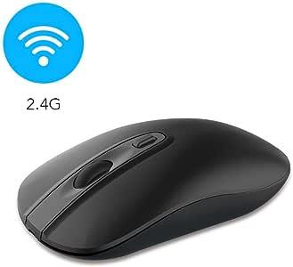 Wireless Computer Mouse, Cimetech Slim Cordless Mouse for Laptop Ergonomic Optical with Nano Receiver USB Mouse for Laptop, Deskbtop, MacBook (BAT Black)