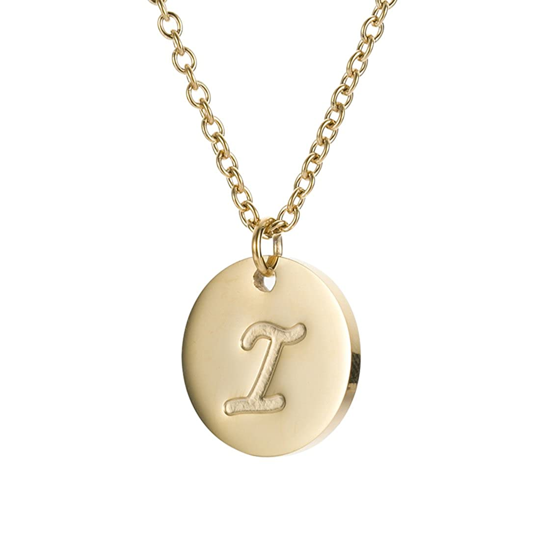 HUAN XUN Initial Necklace Best Friend Necklaces for Girls Stainless Steel, 16 NL-2600 A Gold