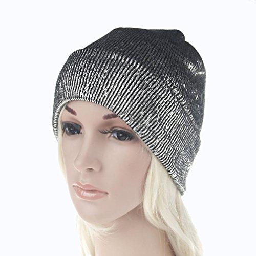 Winter Hat, ღ Ninasill ღ Exclusive Unisex Warm Knit Crochet Ski Hat Braided Turban Headdress Cap (Silver) - Exclusive Crochet