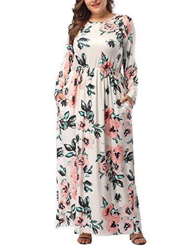 KUREAS Women's Plus Size Maxi Dress Floral Print Long Dress Three Quarter Sleeve with Pocket Floor-Length