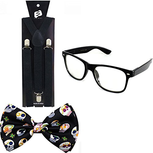 Enimay Suspender Bowtie Wayfarer Clear Glasses Nerd Costume Halloween Sugar Skulls (Sugar Skulls Costume)