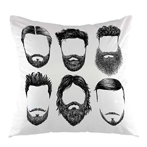 "oFloral Hair and Beards Pilowcase,Hipster Fashion Sketch Man Face Hairstyle and Vogue Beards Mustache Throw Pillow Cover Square Cushion Case for Sofa Couch Car Bed Home Decorative 18"" x 18"" inch"