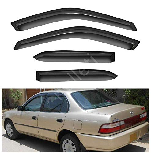 itelleti 4pcs Outside Mount Dark Smoke Sun/Rain Guard Front+Rear Tape-On Auto Window Visors For 98-02 Toyota Corolla Chevy Prizm