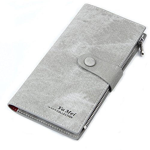 Mfeo Women's Soft Leather Durable Slim Wallets Long Bifold Multi-Card Wallet Grey ()
