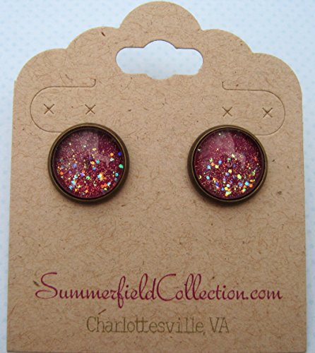 Preppy 80s Costume (Antiqued Gold-tone Plum Berry Purple Glitter Glass Galaxy Stud Earrings 12mm Hand-painted)