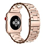 for Apple Watch Band 42mm, Fintie Solid Stainless Steel Metal Replacement Strap Bracelet Wrist Bands for Apple Watch Series 3 Series 2 Series 1 42mm All Models (Sport and Edition) - Rose Gold