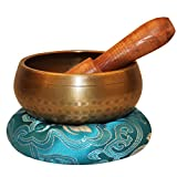 Reehut Tibetan Meditation Yoga Singing Bowl Set With Mallet & Silk Cushion - For Meditation, Chakra Healing, Prayer ,Yoga, and Mindfulness