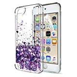 iPod Touch 6 Case, iPod Touch 5 Liquid Case with HD Screen Protector for Girls,LeYi Shiny Glitter Quicksand Clear TPU Protective Phone Case for Apple iPod Touch 6th / 5th Generation ZX Purple