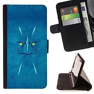 BullDog Case - FOR/Samsung Galaxy S6 / - / Blue Face /- Monedero de cuero de la PU Llevar cubierta de la caja con el ID Credit Card Slots Flip funda de cuer