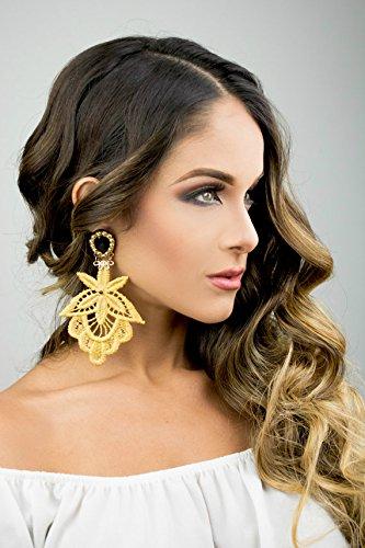 Amazon.com: Gold Statement Earrings, Chandelier Earrings, Bridal ...