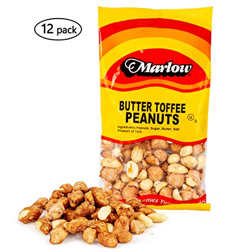 Butter Toffee Peanuts, 12 Pack -Sweet and Savory Nuts - All Natural and Low Calorie Nut Snack Pack - Tasty, Vegetarian and Kosher - 2.5 Ounce Bags - By Marlow