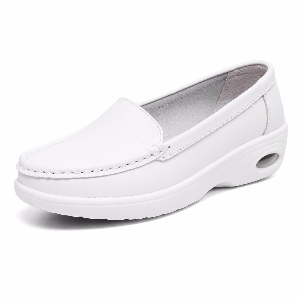 Moonwalker Women's Leather Health Care Slip-On Loafers Nurse Shoes (9 B(M) US, White2)