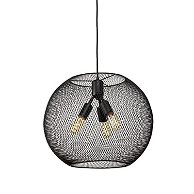Hanging Black Metal Mesh Pendant with 1 Vintage Bulb Included
