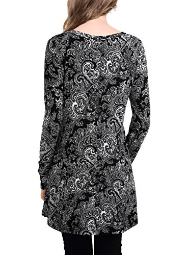 BAISHENGGT Mujer Top Largo con Estampado Floral Swing Mini Dress Negro