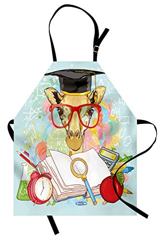Ambesonne Graduation Apron, Hipster Giraffe Animal with Glasses and Cap Geek Student in Education School, Unisex Kitchen Bib Apron with Adjustable Neck for Cooking Baking Gardening, Multicolor by Ambesonne