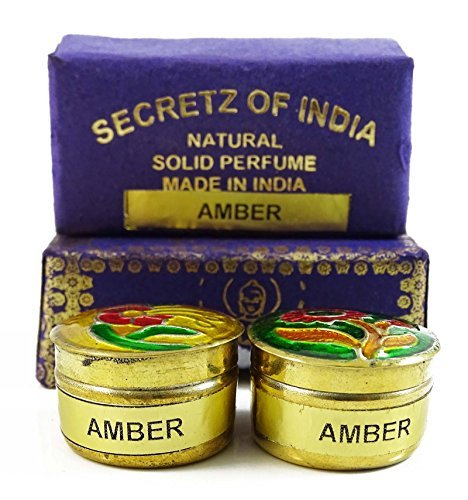 (Natural Amber Fragrance Solid Perfume Body Musk Natural In Mini Brass Jar 4g)
