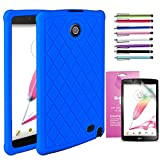 LG G Pad 2 8.0 /G Pad F 8.0 Case, EpicGadget(TM) Silicone Rubber Gel Cover Case with Full Protection For LG Gpad 2 8.0'' / Gpad F 8.0'' + Screen Protector and 1 Stylus (US Seller) (Navy Blue)
