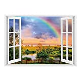 SCOCICI Removable Wall Sticker/Wall Mural/Rainbow,Kentucky Countyside with Lively Green Pastures River and a Rainbow Decorative,Hunter Green Multicolor/Wall Sticker Mural