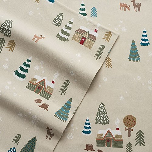 Cuddl Duds Twin Flannel Sheet With Deep Pockets  4 Pieces   Lodge Scene