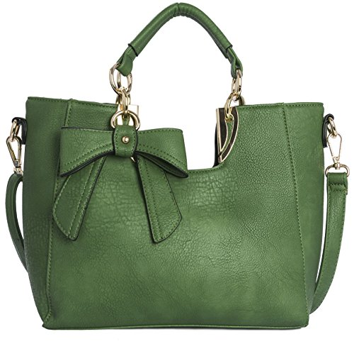 Big Handbag Shop Womens Medium Top Handle Bow Detail Shoulder Bag (9945 Green) (Detail Purse)