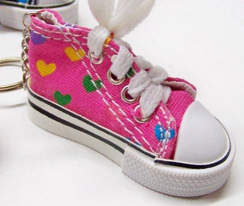 "Canvas ""HEARTS"" Mini Hi Top Sneaker Keychain - 2 Pack"