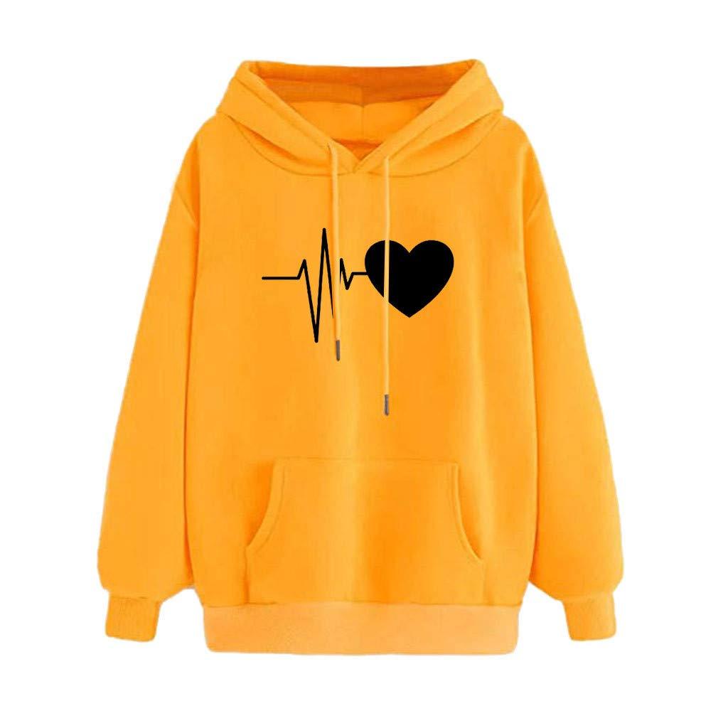 Qvwanle Fashion Women Autumn Print Long Sleeve Casual Loose Hooded Pullover Sweatshirt Top Blouse (M, Yellow)