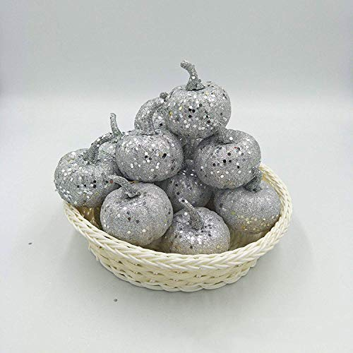 Nice purchase Realistic Fake Artificial Small Pumpkins for Decor Halloween Fall Harvest Thanksgiving Party DIY Craft (Silver Pumpkins) ()