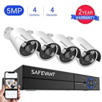 [2019 New] 5MP Security Camera System,Safevant 4CH 4-in-1 5MP DVR Home Security Camera System (NO Hard Drive),4pcs Indoor&Outdoor 5MP Security Cameras with Night Vision,Free App for Smartphone Remote