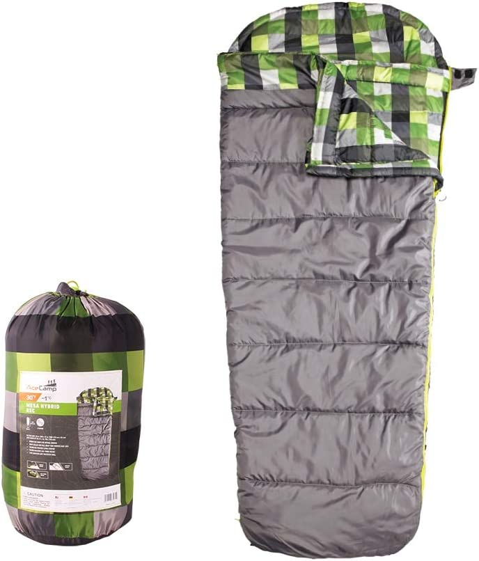AceCamp Hybrid Sleeping Bags for Camping Backpacking, Comfortable Built-in Pillow Pad, Keeps Heat in, Cold Night Resistant, Polyester Shell, Includes Stuff Sack – 30 – 45