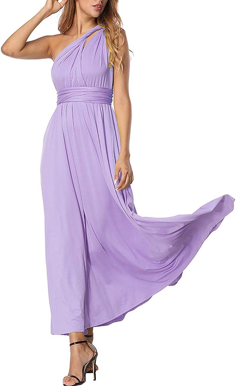 TALLA S(ES 36-40). FeelinGirl Mujer Vestido de Noche Longitud Máxima Falda Fiesta Cóctel Tirantes Convertibles Multi-Manera Púrpura Claro S(ES 36-40)