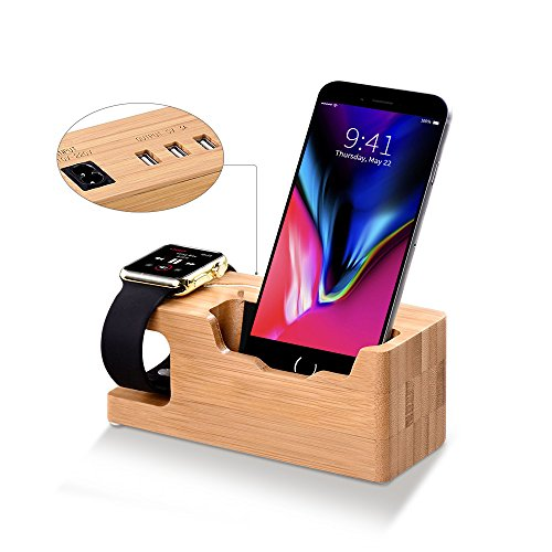 Apple Watch Stand, T-CORE Multi Device Charging Station with 3 USB Ports 3.0 Hub, Bamboo Wood Charging Stand Bracket Docking Station Compatible iPhone X/8/7s/6s/6 PLUS, iWatch 38mm/42mm by T-CORE