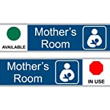 ComplianceSigns Engraved Acrylic Mother's Room Sliding Sign, 8 x 3 in. Blue with 12-in. Silver Bracket