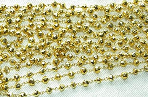 (3 Feet Pyrites Rosary Chain 18 Inches Gold on Sterling Vermeil Wire Strand 4mm Faceted Semiprecious Gemstone Beads Get 10% Off Jewelry Supplies by LadoNarayani)