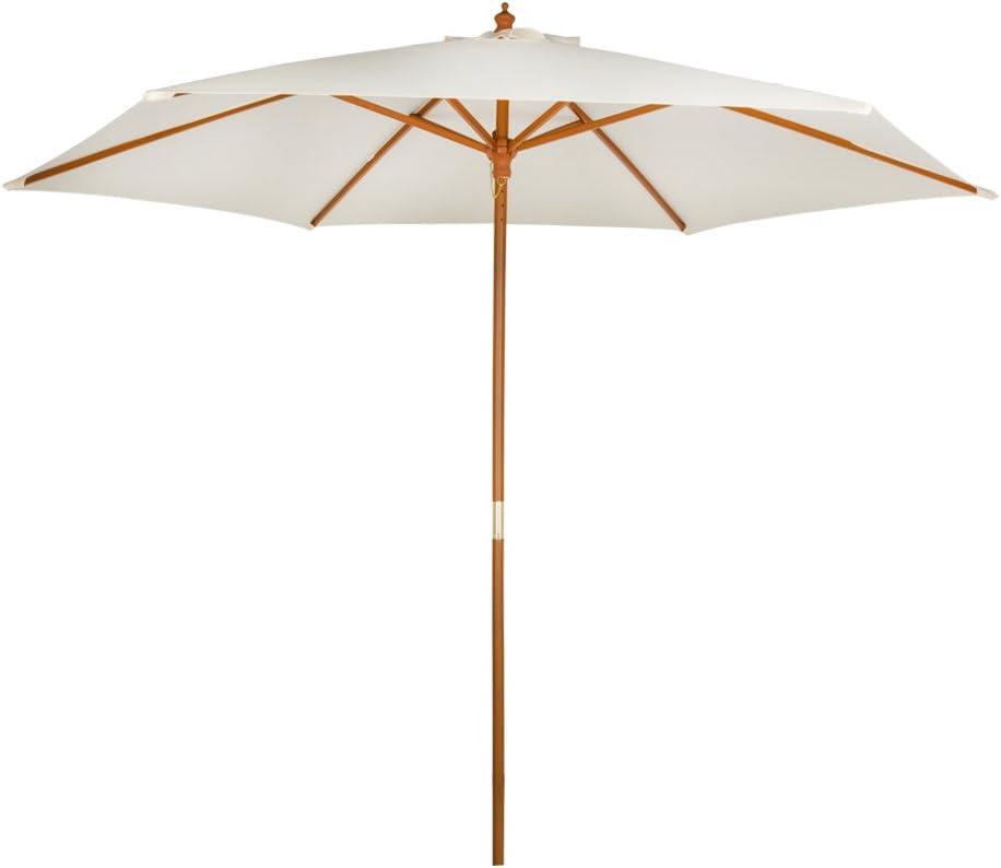 AKTIVE Garden 53863 Parasol hexagonal, diámetro 300 cm, crema mástil de madera