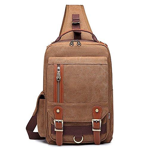 Leather Single Strap - Canvas Crossbody Bag Sling Bag Backpack Shoulder Chest Bag Khaki