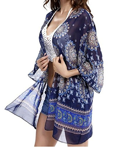 Taydey Women's Floral Print Sheer Chiffon Loose Kimono Cardigan Blue