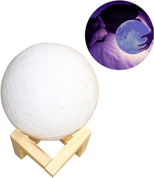 TENER Lámpara de Mesa Luz Nocturna Impresión 3D Luz de Luna ...