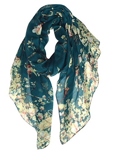 GERINLY Scarves for Women Fashion Floral Birds Print Headwraps Long Scarf (Teal) ()