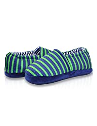 LA PLAGE Boy's Cute Soft Cotton Stripe Slippers