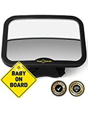 ROYAL RASCALS Baby Car Mirror for Back Seat - Black Frame – Safest Shatterproof Baby Mirror for Car - Rear View Baby Car Seat Mirror to See Rear Facing Infants and Babies