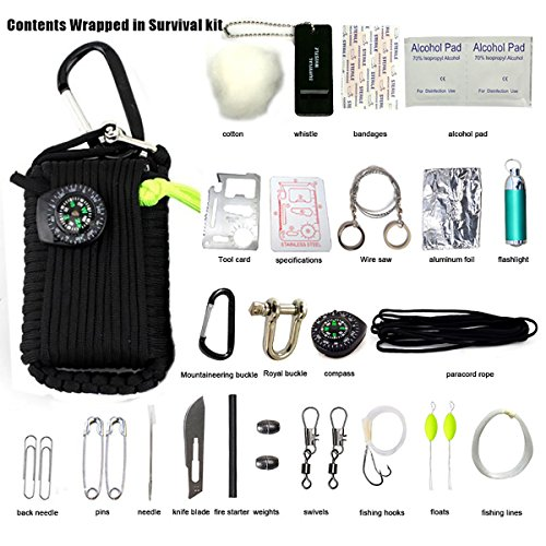 Emergency Key Chain Survival Kit,Survival Pack Including an Upgraded Blade and Fishing LED Light with 29 Tools for Camping Hiking Travel or Adventures (Black)